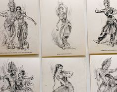 Vintage art print set of 10 pencil sketch illustrations indian god goddess religious dance retro whimsicalbohemian black white gallery wall