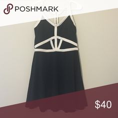 Party dress Zipped back party dress. Open 2 triangles in front. 90% polyester 10% spandex. Fun for dances, dates, dinners, anytime u wanna look cute! Material Girl Dresses Mini
