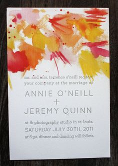 Watercolor - Wedding Invitation Suite - Letterpress