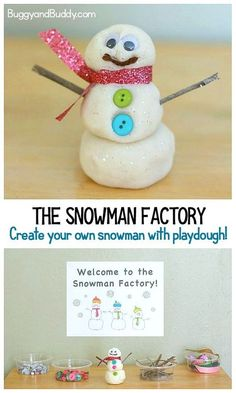 Winter Activities for Kids: A Snowman Factory!- The Snowman Factory: Make your own playdough snowmen using loose parts like twigs, button and ribbon. A fun creation center for winter! Winter Activities For Kids, Winter Crafts For Kids, Winter Kids, Winter Christmas, Kids Fun, Preschool Christmas, Christmas Activities, Craft Activities, Preschool Winter