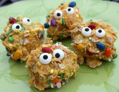 """BACTERIA BUDDIES"" Are your kids learning about bacteria? If so this snack might be a hit. Take chocolate/vanilla swirled marshmallows, dip them in melted yellow candy melts, roll in crushed corn flakes, roll in a variety of sprinkles with sunflower seeds and add two edible eyeballs."