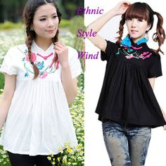 Aliexpress.com : Buy Ethnic Trend Style Chinese Embroidery Fashion Women Blouses, Vintage Print T Shirts, XL Retro Brands Short sleeve Cotton Tops from Reliable ethnic trend style  suppliers on Vintage  Fashion Store $41.28