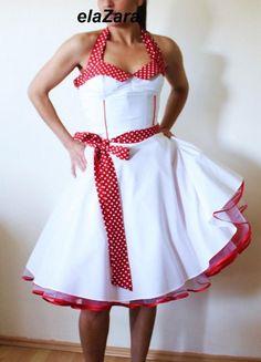 Mädchenhaftes Petticoatkleid aus weiß/rot ML0002 von elaZara auf DaWanda.com