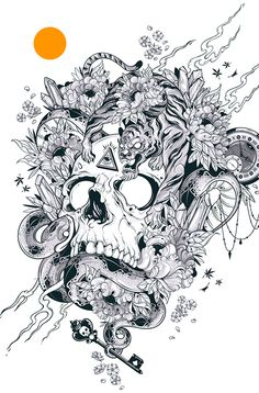 Numinous, my last piece of the year.I´ve put a lot of effort and enthusiasm in this particular piece regarding the conviction about the messages that lie between the lines.The final result, an edition of 12 copies numbered, signed and printed in Hi-Res … Skull Coloring Pages, Coloring Books, Tattoo Crane, Tattoo Drawings, Art Drawings, Totenkopf Tattoos, Arte Horror, Skull Tattoos, Skull Art