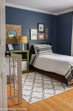 Paint color of walls and book shelf- Navy, green, and gray boy nursery ideas with crib and twin bed Grey Boys Rooms, Boy Rooms, Kids Rooms, Green And Grey, Navy Green, Grey Nursery Boy, Kids Bedroom, Bedroom Ideas, Grey Walls