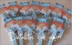 Detallitos para baby shower hipopótamo con pinzas ♥