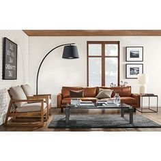 Hess Leather Sofa with Nara Chair - Modern Living Room Furniture - Room & Board