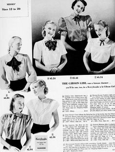 Kiểu tóc gibson girl năm 1948, giống như phong trào new look, mang lại cho người phụ nữ vẻ nữ tính, yểu điệu.