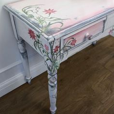 Good sturdy desk given a new lease of life. Was dull and old. But just because something is outdated and tired doesn't mean it can't be beautiful again. Hand Painted Furniture, Paint Furniture, Vintage Furniture, Love Painting, Wooden Tables, Quality Furniture, Vanity Bench, Create Yourself, Tired