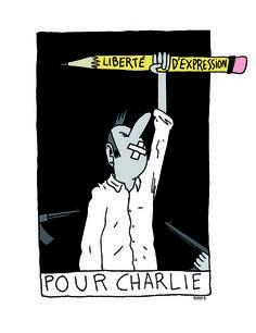 Hommage à Charlie Hebdo par le dessinateur Simon Bailly,  Libération. 7 au 9 janvier 2015.