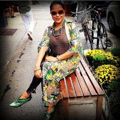#Eclecticstyle in #vintagesilkdress in #indianprint worn as #silkjacket for fall with #japaneseobi #vintagebelt and #green #vintageleatherbelt with #metallic #snakeskinleather/ #snakeskinshoes & handmade #vintagesunglasses/leathersunglasses.