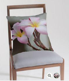 Original design throw pillow.  Beautiful pink plumeria