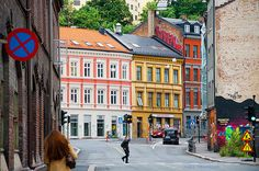 A colorful street scene in Oslo Norway