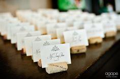 I do like those wine cork escort card holders!Lindsey & Nick | Petroleum Club | Houston Wedding Photographer | Houston Wedding Photography | Agape House Studio Ph