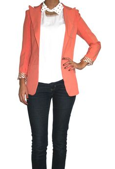 Coral Blazer - Dressing it up with the polka dots