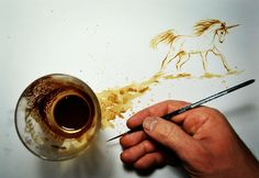 Just painting with ...greek coffee ! #greekcofee #greek #greece #teodosio #teodosiosectioaurea #unicorn #coffeeart #coffee