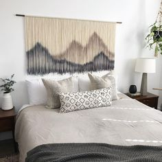 I feel like I got nothing accomplished 😂 Charlie girl just wasn't having those naps so any attempt to get work done was always… Large Macrame Wall Hanging, Tapestry Wall Hanging, Large Tapestries, College Dorm Decorations, Wood Sticks, Couch Covers, Living Room Bedroom, Bedroom Inspo, Master Bedroom