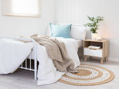 Mocka Chelsea Side Drawer with Sonata Bed, Penny Throw and Doily Rug $69.95