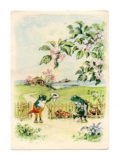 """Alte AK Postkarte illustriert von Fritz Baumgarten """"Frosch bekommt Besuch""""... 1955"""