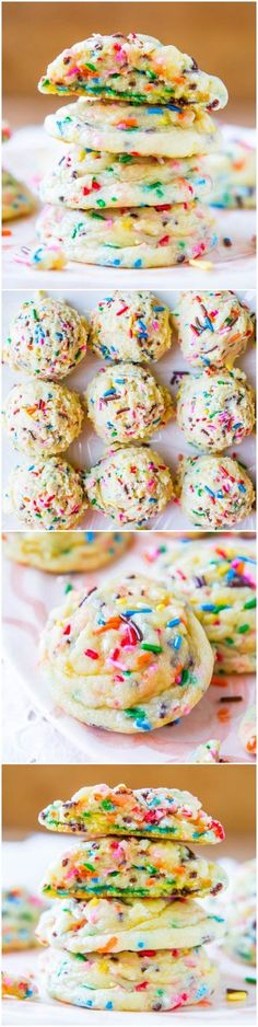Softbatch Funfetti Sugar Cookies – Move over cake mix. These easy, super soft cookies are from scratch loaded with sprinkles! Recipe at av… Softbatch Funfetti Sugar Cookies – Move over… Just Desserts, Delicious Desserts, Yummy Food, French Desserts, Baking Desserts, Cupcakes, Cupcake Cakes, Sugar Cookies, Cookies Et Biscuits