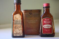 Vintage Bottles of Flavored Extract and Anjimoto Super Seasoning Tin by madjoy22…SOLD