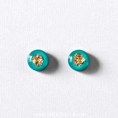 Teal & Gold Flake Round Studs - Handmade Jewelry by Amoorella