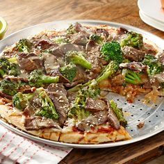 This recipe is every take-out lover's dream! Top your pizza with beef sirloin steak strips and broccoli florets to create your own beef and broccoli pizza!