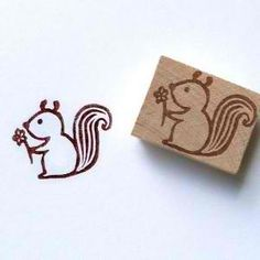 Squirrel - Hand Carved Rubber Stamp Idea