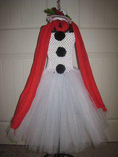 Snow Man Christmas Tutu dress / Birthday costume by MonkeyTutus, $36.00