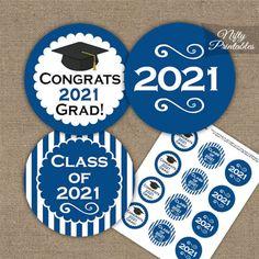 Blue Graduation Cupcake Toppers Printable 2021 Graduation | Etsy Graduation Cupcake Toppers, Graduation Cupcakes, Graduation Decorations, Graduation Ideas, Graduation Celebration, Graduation Cards, Graduation Cap Tassel, D N Angel, 8th Grade Graduation