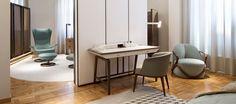 GIORGETTI Studium desk   Hug armchair   Aura chair   Tilt armchair   Town modular storage system   NAHOOR Mahari floor lamps