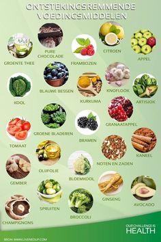 Meer informatie over ontstekingsremmende en ontstekingsbevorderende voeding. Best Nutrition Food, Health And Nutrition, Nutrition Data, Complete Nutrition, Holistic Nutrition, Health Fitness, Healthy Tips, Healthy Eating, Healthy Recipes