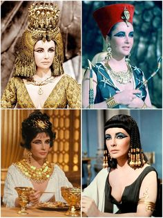 50th Anniversary of #Cleopatra starring Elizabeth Taylor. With detailed royal headwear, braided wigs, dramatic cat eye make-up, and exquisite jewels, the designers made good use of their budget to draw focus to Taylor's face (and décolletage). Costume Designers: Renie Conley, Vittorio Nino Novarese and Irene Sharaff. Tyranny of Style.