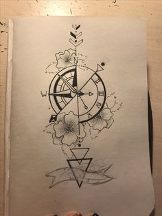 65 amazing compass tattoo designs and ideas Cool Art Drawings, Pencil Art Drawings, Art Drawings Sketches, Tattoo Sketches, Easy Drawings, Tattoo Drawings, Cute Tattoos, Body Art Tattoos, Bow Tattoos