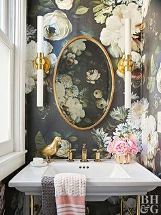 Thinking about updating your bathroom? Find all the bathroom design inspiration you could want in this post as we share 13 beautiful bathroom decor ideas to inspire your next bathroom remodel. From bold wallpaper, elegant powder rooms, soaker tubs, glass shower enclosures, brass, gold and silver bathroom fixtures, to chandeliers and elegant pendant lighting in the bathroom, we have you covered! Hadley Court Interior Design Blog