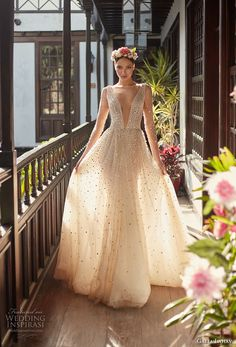 galia lahav couture fall 2018 bridal sheer long sleeves deep plunging v neck full beaded embellishment creame color romantic soft a line wedding dress open v back chapel train (2) mv -- Galia Lahav Couture Fall 2018 Wedding Dresses