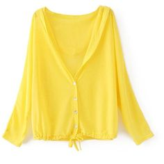 Zacoo Women's Sunscreen Anti-UV Cardigan ($5.81) ❤ liked on Polyvore featuring tops, cardigans, yellow cardigan, yellow top and cardigan top