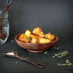 roasted potatoes with sea salt and thyme - http://steamykitchen.com/16306-roasted-potatoes-with-sea-salt-and-thyme.html?utm_source=feedburner&utm_medium=feed&utm_campaign=Feed%3A+SteamyKitchen+%28Steamy+Kitchen%29