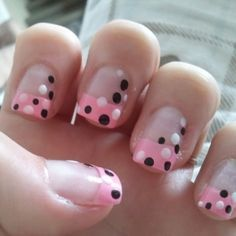 24 French Tips Nail Art Designs pink french manicure tips with black and white polka dots nail art – Glitsy Fashion never would have thought of this! Glam Nails, Fancy Nails, Love Nails, Trendy Nails, Beauty Nails, Art Nails, Pink French Manicure, French Tip Nail Art, French Tips