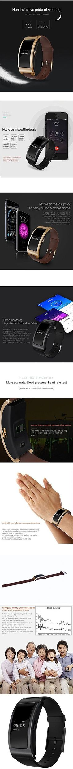 Kassica Waterproof Blood Pressure Heart Rate Monitor Fitness Tracker Stopwatch Sports Activity Healthy Smart Wristband Pedometer Sleep Quality Smart Bracelet for Androied IOS (Black)