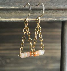 Peach Moonstone Gold Earrings Ombre Gemstone by happylittlegems, $40.00