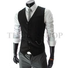I should look into ties and vests… ::::Theleesshop:::: Chain Zipper Pocket 5 Button Slim Vest Waistcoat