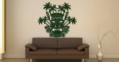 Tiki wall sticker, comes in other colors! Polynesian Art, Polynesian Culture, Custom Wall Decals, Wall Decor Stickers, Dark Blue Color, People Art, Stone Carving, Vinyl Designs, Shop Signs