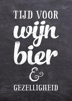 Uitnodiging voor een feest met de tekst: Tijd voor wijn, bier & gezelligheid. Geschikt voor een verjaardag, borrel, jubileum, bedrijfsfeest of zomaar. Deze kaart is verkrijgbaar bij #kaartje2go voor € 1,89