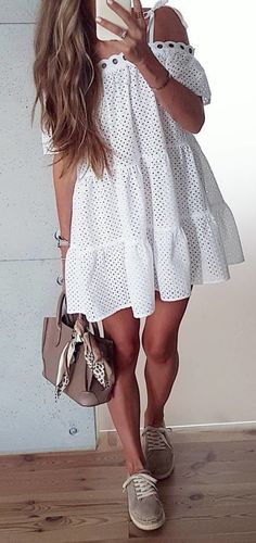 #fall #outfits women's white off-shoulder mini dress