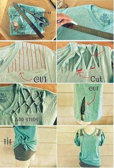 Diy Cut Shirts, Old T Shirts, T Shirt Diy, Sewing Clothes, Custom Clothes, Cut Shirt Designs, Shirt Alterations, Diy Fashion, Fashion Outfits