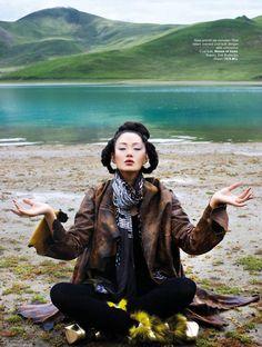 "Harper's Bazaar Indonesia November 2010 ""7 days in Tibet"" Model: Zhang Fan Ph: Nicoline Patricia Malina Fashion Editor:"