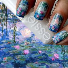 OH MY GOODNESS BEST! FA: I finally tried to to a waterlilies nail art, inspired by Claude Monet (I've been wanting to do that for two years - always being afraid. Claude Monet, Diy Nails, Cute Nails, Pretty Nails, Fancy Nails, Fabulous Nails, Gorgeous Nails, Nailart, Manicure Y Pedicure