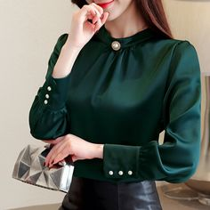blusas mujer de moda 2018 long sleeve women shirts womens tops and blouses chiffon blouse shirt feminina plus size tops 1418 45 Chiffon Blouses, Shirt Blouses, Chiffon Shirt Dress, Blouse Styles, Blouse Designs, Hijab Styles, Sleeves Designs For Dresses, Mode Outfits, Plus Size Tops