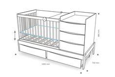 Convertible Kids Furniture for Clever Kids Room Design Kidsomania Baby Boy Rooms, Baby Bedroom, Baby Room Decor, Baby Cribs, Baby Crib Designs, Baby Room Design, Crib With Changing Table, Clever Kids, Multifunctional Furniture